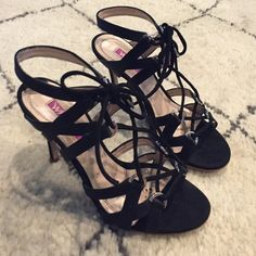 Black lace up sandals 7 Bought in Europe, excellent condition. Shoes Sandals