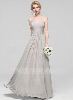 [R$ 380.74] Vestidos princesa/ Formato A Decote V Longos Tecido de seda Vestido de madrinha com Pregueado (007090204)