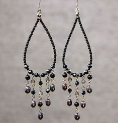 Hoop Earrings long chandelier loop tear drop by AniDesignsllc, $9.95