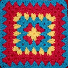 My Favorite Granny Square, by Christina Budd.  DC & TR clusters to make 12-inch square; easy to adjust size.  #crochet #granny_square