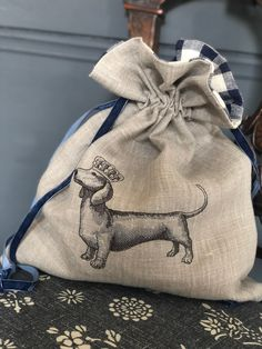 This charming bag with embroidered dachshund to the front is made from floppy Peony Velvet Ribbon, Handmade Design, Peony, Dachshund, Gingham, Your Dog, Reusable Tote Bags, Navy, Sewing