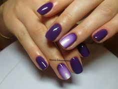 Accent on ring finger, Bright shellac, Casual nails, Color transition nails, Dark purple nails, Dark violet nails, Everyday nails, Office nails