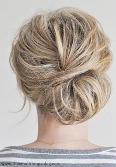 Bridesmaid Updo Hairstyles for Short Hair: Messy Chignon #hairstyles #updos #shorthairstyles