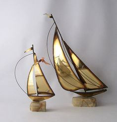 E.F.?  vintage brass sail boat sculpture pair mario by RecycleBuyVintage, $40.00