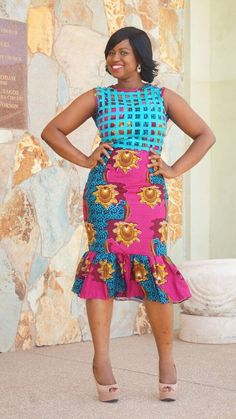Fabulous Handmade African Wax Print Fitted Cocktail Dress