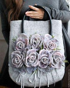 Felted bag / Женские сумки ручной работы. Ярмарка Мастеров - ручная работа. Купить Авторская сумка Дымчатые розы. Handmade. Серый