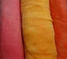 Cotton scrim hand dyed in 3 colours pink, yellow and orange. £7.00, via Etsy.