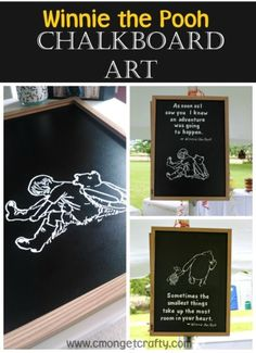 Make some fun nursery or playroom art, birthday decorations, or whatever you like! Winnie the Pooh Chalkboard Art adds a classic touch. Winnie The Pooh Birthday, Baby Boy 1st Birthday, Diy Birthday, 16th Birthday, Birthday Ideas, Baby Book Pages, Playroom Art, Vintage Winnie The Pooh, Chalkboard Art
