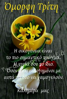 Ευχές καλημερας Good Night Quotes, Greek Quotes, Good Morning, Beautiful Pictures, Mornings, Tuesday, Mugs, Tableware, Google