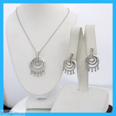 Circle Desgin Dangle Earrings with Matching Pendant and Chain 4.00 ct.