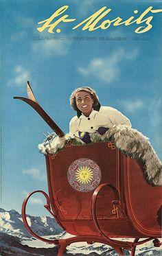 Vintage ski poster. Werner Bischof 1948