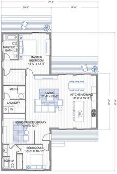 Plano de casa una planta forma de T