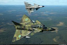 The Saab Viggen has one of the coolest camo paint jobs ever.