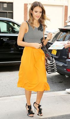 941eaebd81c jessica alba in a striped top and bright orange skirt Striped Skirt Outfit