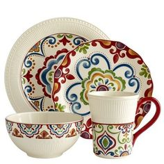 My everyday dishes, Medallion by Pier One...I love the colors -- they're happy!