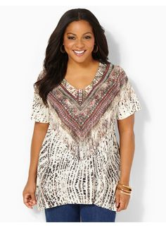 Catherines Plus Size Ambiance V-Neck Top - Women's Size 1X,2X,3X,0X, Desert Khaki-HOW TO DRESS A PEAR SHAPED BODY