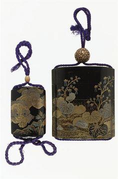 Two black lacquer inro. Late Meiji period.