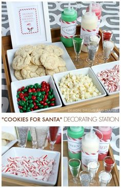 Create a Christmas Cookie Decorating Station for your next holiday party! Perfect for kids and adults and Santa will love them! Create a Christmas Cookie Decorating Station for your next holiday party! Perfect for kids and adults and Santa will love them! Noel Christmas, Christmas Goodies, Christmas Treats, Christmas Baking, Holiday Treats, Holiday Parties, Holiday Recipes, Christmas Party Activities, Christmas Party Ideas For Adults