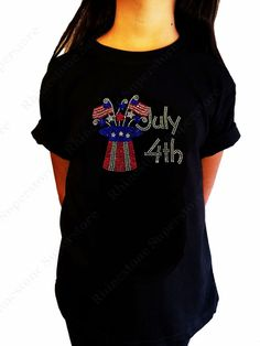 """Girls Rhinestone T-Shirt """" 4th of July Top Hat """" Kids Size 3 to 14 Available"""