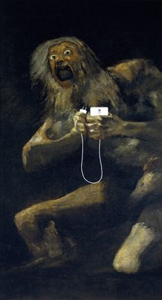 'Please' after 'Saturn devouring his son' by Francisco Goya, 1819-23
