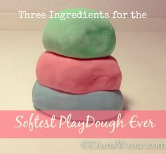Three Ingredients for the Softest PlayDough Ever: Cornstarch, White (unscented) Lotion, Food Color