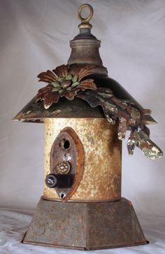 Birdhouse Metal Birdhouse Reclaimed Objects Birdhouse by channa01