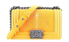 CHANEL LE BOY GALUCHAT STINGRAY LAMBSKIN LEATHER BAG YELLOW SILVER CLASSIC FLAP #CHANEL #ShoulderBag
