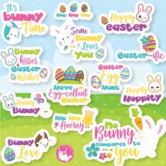 80% OFF SALE Easter Word Art clipart commercial use, Easter lettering vector graphics, easter monogram clip art, digital images - CL1076 by Prettygrafikdesign on Etsy