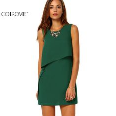 52ff80d1880 Aliexpress.com   Buy COLROVIE Party Dresses Women Clothing 2017 New Style  Back Zipper Round Neck Sleeveless Ruffle Chiffon Short Dress from Reliable  dress ...