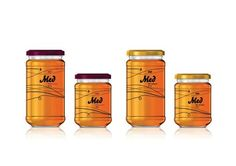 PIP Honey designed by Mihovil Vargović - 'The concept is based on an amazing information, that an average bee flies around 1000 km for just one jar of honey (about 1 kilogram). Flight is symbolized by a black line that wraps around the jar. The flavors of honey are coded with differently colored jar covers.'