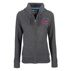 Trudy Charcoal Price: € 49.00  Ladies Full zip hood  Lined hood with rope pull  Concealed metal zip with logo zip  Raised rubber Diesel logo print  50% cotton 50% polyester   Brushed fleece interior