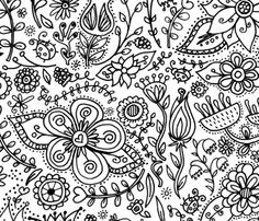 Coloring Page Wallpaper - Do It Yourself Decor - Kids Wall coverings from Spoonflower SmallforBig.com