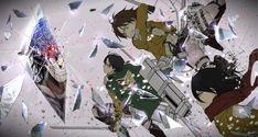 (Pixiv56390), Shingeki no Kyojin, Eren Jaeger, Mikasa Ackerman, Levi, Rogue Titan
