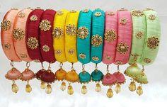 pastel silk thread bracelets with jhumkas Silk Thread Bangles Design, Silk Thread Necklace, Silk Bangles, Beaded Necklace Patterns, Thread Bracelets, Thread Jewellery, Jewelry Patterns, Thread Art, Earring Tutorial
