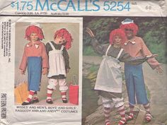 MOMSPatterns Vintage Sewing Patterns - McCall's 5254 Vintage 70's Sewing Pattern Couples Halloween Costumes Raggedy Ann & Andy Jumpsuit, Dress, Pinafore Apron, Bloomers & Yarn Hair Wigs Childs 6-8