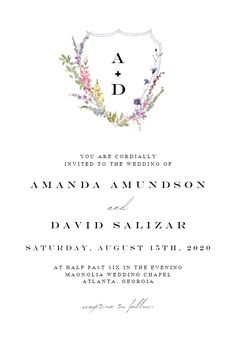 Meadow Watercolor Floral - Wedding Invitation #invitations #printable #diy #template #wedding Magnolia Wedding, Free Wedding Invitations, Chapel Wedding, Text Messages, Floral Watercolor, 21st, Printable, Diy, Bricolage