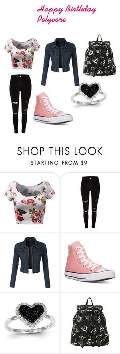 """""""Happy Birthday Polyvore"""" by alexiawilliams-1 ❤ liked on Polyvore featuring River Island, LE3NO, Converse and Kevin Jewelers"""