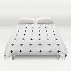 Black Plus on White /// www.pencilmeinstationery.com Duvet Cover by Pencil Me In ™. Worldwide shipping available at Society6.com. Just one of millions of high quality products available.