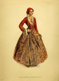 -Costume of Roumeli, Art Costume, Queen Costume, Folk Costume, Dance Costumes, Ancient Greek Costumes, Greek Traditional Dress, Greece Fashion, Costumes Around The World, Ethnic Dress