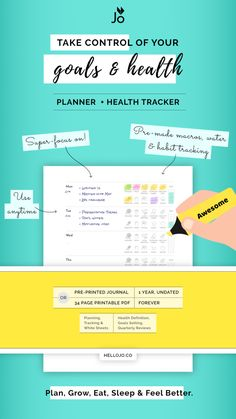 Simple planner and tracker journal to help you achieve your goals and get healthy! Pre-printed and ready to highlight. Track and discover what habits you need to improve - is it eating healthily, adjusting your macros, sleeping more, drinking more water... and what makes you happy? Set your goals, track your habits, and become the best version of yourself ✨ #journal #planner #tracker #habits #printable #macros #water #sleep #eatclean #mood #goals #bulletjournal