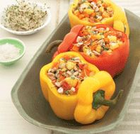 sweet potato stuffed bell peppers (sub coconut oil or extra virgin olive oil for vegetable oil) // clean food // power foods
