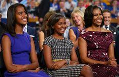 Malia, Sasha and Michelle Obama at the Democratic National Convention