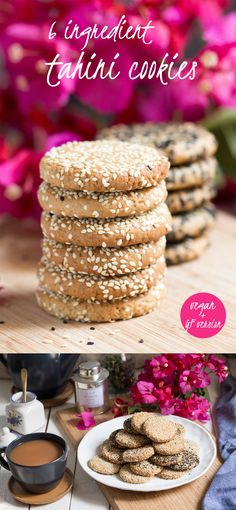 Who doesn't like homemade cookies? These #tahini beauties require only 6 ingredients. They use no refined sugar or added oil/margarine and can easily be made gluten-free too. #recipe @ lazycatkitchen.com