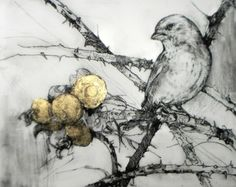 The Grateful Greenfinch III  By Emerson Mayes  Medium: Drypoint with Gold Leaf