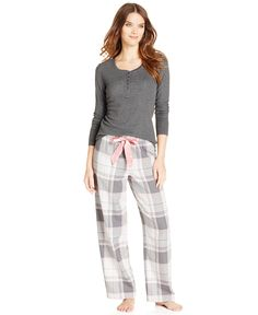 Alfani térmica Top y franela a cuadros pijama Pantalones - Todo Tienda Pijamas y Batas - Mujer - Macy
