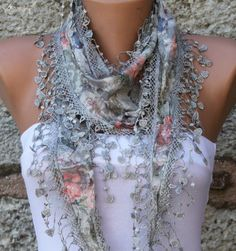 Multicolor Shawl   Cotton  Scarf   Cowl with Lace Edge by fatwoman, $15.00