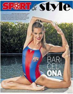 FC BAR CEL ONA. Ona Carbonell, amb banyador disenyat x ella en ocasió de la Champions Producción Carme Barceló. Make up y peluquería: Acqua Perruquers