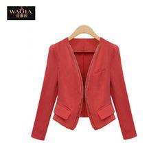 Fashion Slim Long Sleeve Double Zipper Blazer Jackets