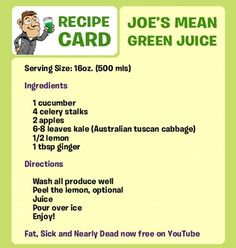 Fat Sick & Nearly Dead Recipe [Mean Green Juice or How to Drink Kale Like You Mean It]