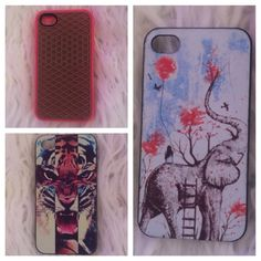 iPhone 4s cases 3 iPhone 4s cases: 1-pink/brown vans case 2-multi-color tiger cross case 3-girl on elephant case Vans Accessories Phone Cases